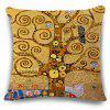 Abstract Tree Bird Painting Star Pattern Square Shape Pillowcase - EARTHY