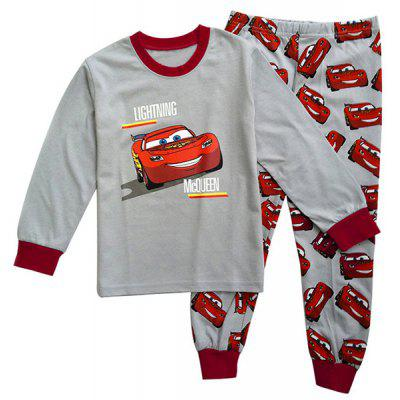Stylish Cars Pattern Long Sleeve Round Neck T-Shirt + Pants Twinset