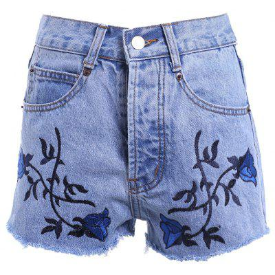 Vintage Style High Waist Raw Edged Floral Embellished Denim Shorts For Women