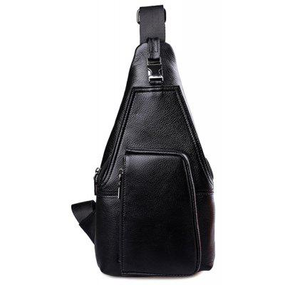 Concise Solid Color and PU Leather Design Messenger Bag For Men