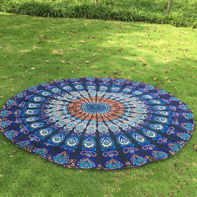Tribal Bikini Boho Swimwear Arab Print Deep Blue Chiffon Round Beach Decor Throw Scarf