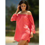 cheap Sweet Cold Shoulder Ruffle Sleeve Dress For Women