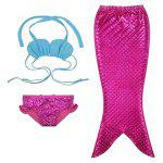 Cute Lace Up Halter Bra + Briefs + Mermaid Skirt Girl's Swimsuit - ROSE