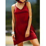 Stylish Cami Pure Color Satin Women's Dress - WINE RED