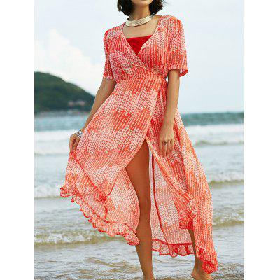 Stylish V Neck Short Sleeve Print Ruffles Dress with Cami Dress Women's Twinset