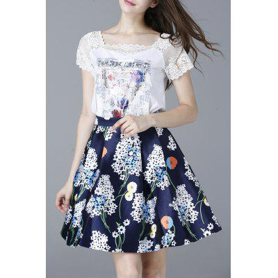 Lace Splicing T-Shirt and High Waist Printed Skirt Twinset