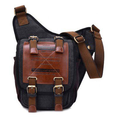 Leisure Canvas and Buckles Design Messenger Bag For Men
