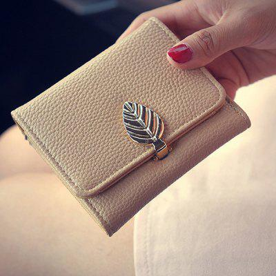 Concise Metal Leaf and PU Leather Design Small Wallet For Women