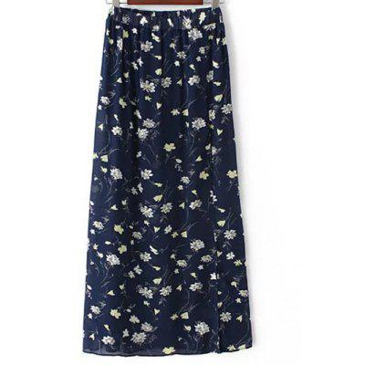 Stylish High Waist A-Line Tiny Floral Print High Slit Women's Skirt
