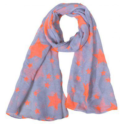 Buy GRAY Stylish Various Orange Five-Pointed Stars Pattern Gray Voile Scarf For Kids for $3.03 in GearBest store
