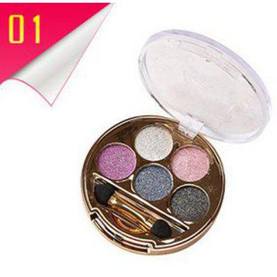 5 Colours Long Wear Brightening Shimmery Diamond Eyeshadow Palette with Brush