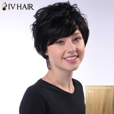 Human Hair Ladylike Short Siv Hair Fluffy Wave Capless Wig For Women