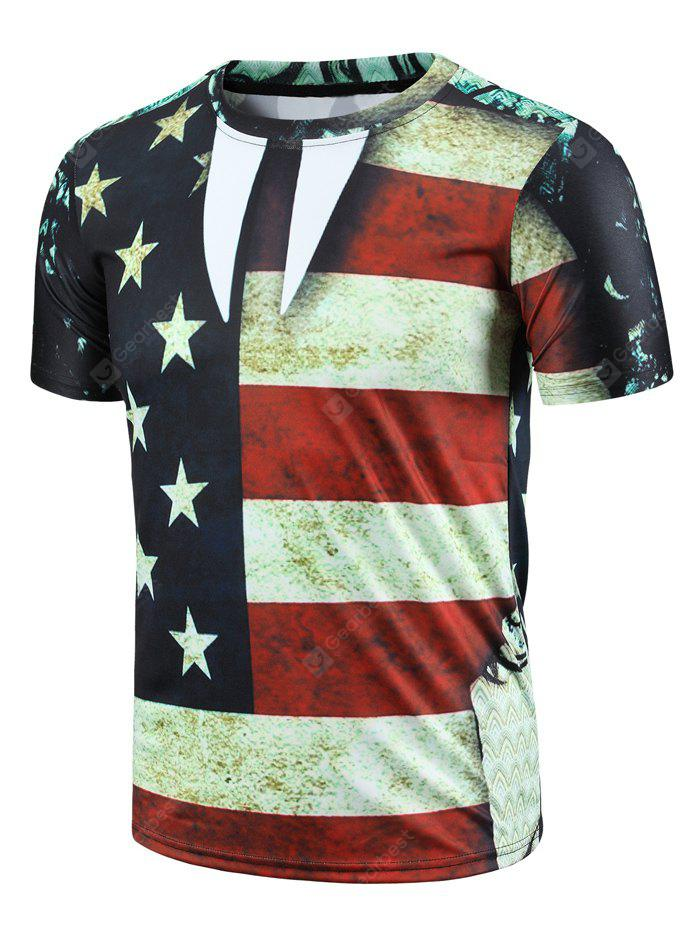 COLORMIX M Round Neck Color Block Stripes Stars Print Short Sleeve Men's T-Shirt