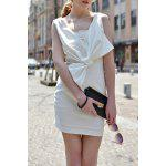 Plunging Neck Bowknot Dress - WHITE