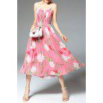 cheap Flower Print Pleated Dress