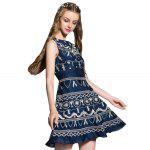 Round Collar Embroidered Tank Dress - BLUE