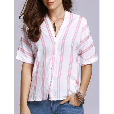 Stylish Half Sleeve Double-V Striped Women's T-Shirt