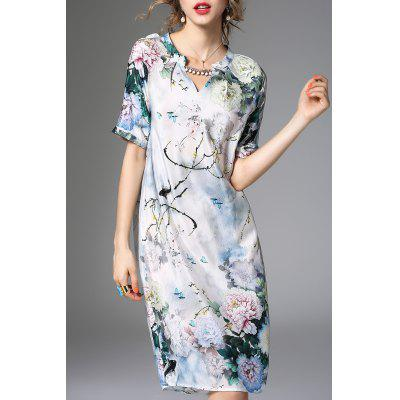 Sweetheart Collar Beading Printed Dress