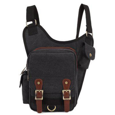 Leisure Zip and Canvas Design Messenger Bag For Men