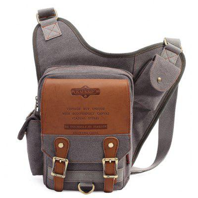 Vintage Zip and Canvas Design Messenger Bag For Men