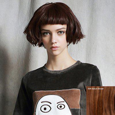 Endearing Short Bouffant Full Bang Human Hair Wig For Women