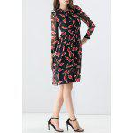 Tied Red Leaves Print Dress deal