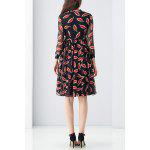 cheap Tied Red Leaves Print Dress