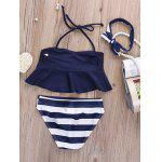 Flounced Halter Top + Striped Briefs Girl's Swimsuit - BLEU VIOLET