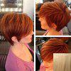 Refreshing Short Shaggy Side Bang Human Hair Wig For Women - GOLDEN BROWN WITH BLONDE