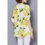 cheap Lemon Print Chiffon Blouse