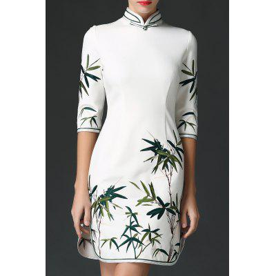 Stand Collar Leaves Embroidered Dress