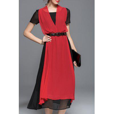 Color Block Belted Chiffon Dress