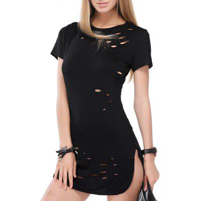 Punk Style Hole Design Side Slit Tee