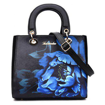 Elegant Flower Printed and PU Leather Design Tote Bag For Women