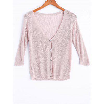 Simple V Neck Pure Color Button Short Cardigan