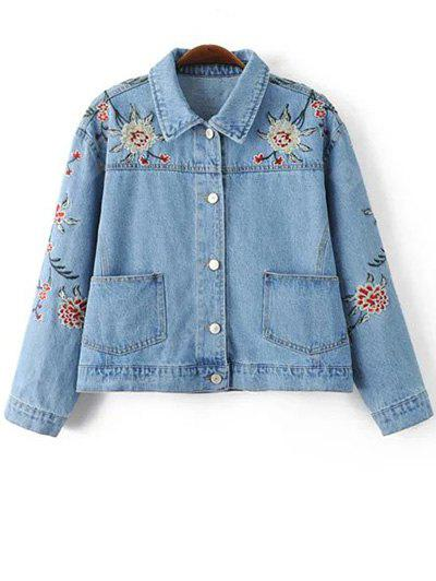 Stylish Embroidered Single Breasted Women's Denim Jacket