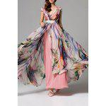 High Slit Floral Maxi Dress - SHALLOW PINK