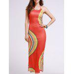 Stylish Halter Sleeveless Cut Out Printed Women's Dress - ORANGEPINK