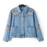 Stylish Embroidered Single Breasted Women's Denim Jacket - BLUE