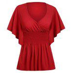 Candy Color Buttterfly Sleeve T-Shirt - RED