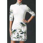 Stand Collar Leaves Embroidered Dress deal