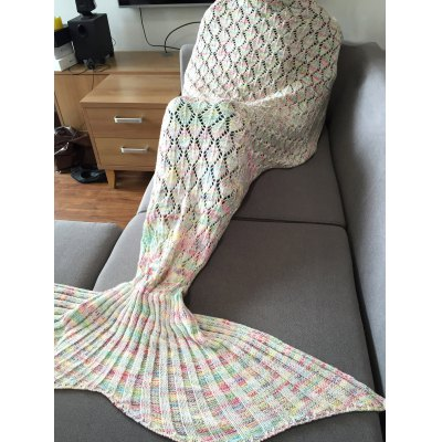 Fashion Colorful Hollow Out Mermaid Tail Design Knitting Blanket For Adult