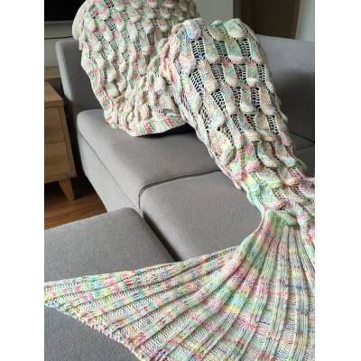 Chic Quality Fish Scale Shape Mermaid Tail Design Knitting Blanket for Adult