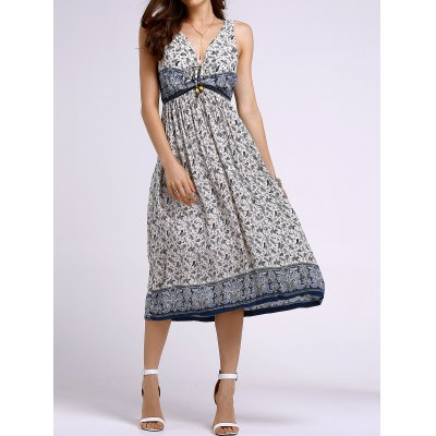 Stylish Round Neck Sleeveless Bohemian Printed Women's Dress