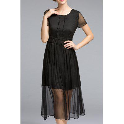 Pleated See Thru A Line Dress