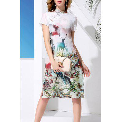 Mandarin Collar Sheep and Flower Print Dress