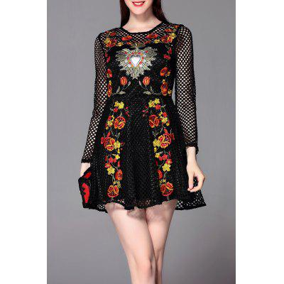 Floral Embroidered Openwork Mini Dress