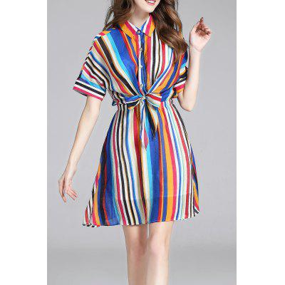 Colorful Stripes Waisted Bowknot Shirt Dress