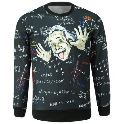 Stylish Round Collar Einstein Printed Sweatshirt For Men