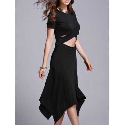 Stylish Jewel Neck Short Sleeve Cut Out Irregular Women's Dress